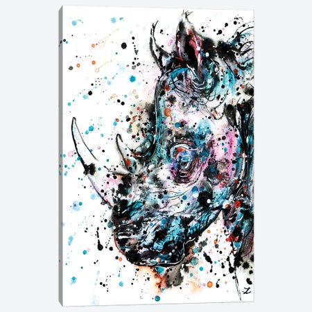 Rhino Watercolor   Canvas Print #ZDZ160} by Zaira Dzhaubaeva Canvas Artwork