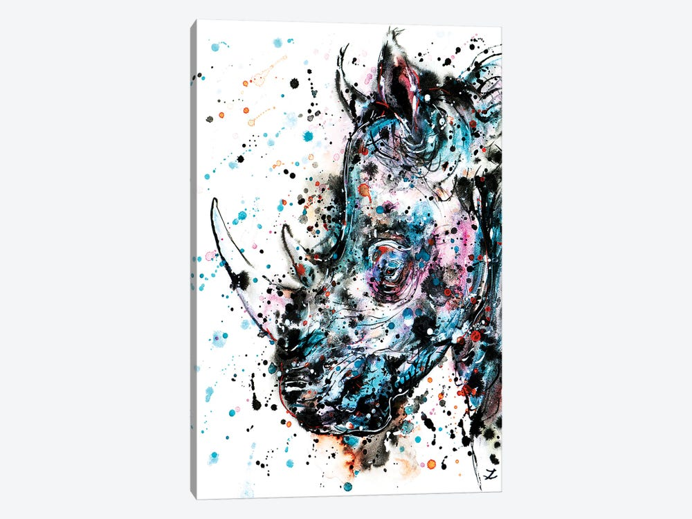 Rhino Watercolor   by Zaira Dzhaubaeva 1-piece Canvas Art Print