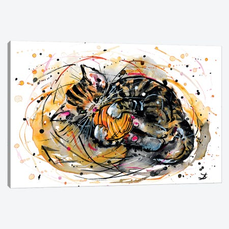 Tabby Kitten Playing With Yarn Canvas Print #ZDZ163} by Zaira Dzhaubaeva Canvas Artwork