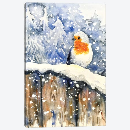 Tales of the Robin Watercolor  Canvas Print #ZDZ164} by Zaira Dzhaubaeva Canvas Print