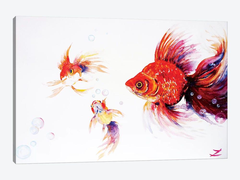 Three Goldfish   by Zaira Dzhaubaeva 1-piece Canvas Art