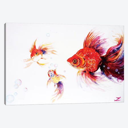 Three Goldfish   Canvas Print #ZDZ165} by Zaira Dzhaubaeva Canvas Print