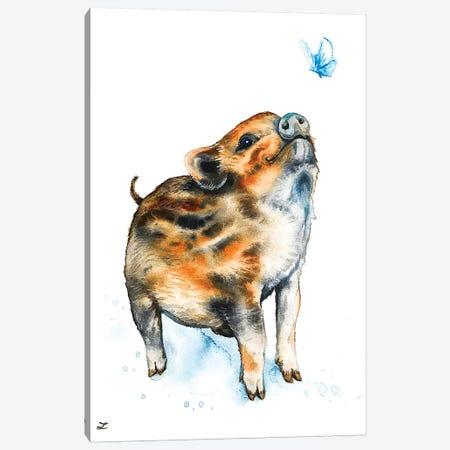 Wild Boar Piglet and Butterfly   Canvas Print #ZDZ168} by Zaira Dzhaubaeva Canvas Artwork