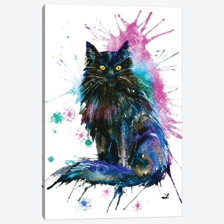 Black Cat Canvas Print #ZDZ16} by Zaira Dzhaubaeva Art Print