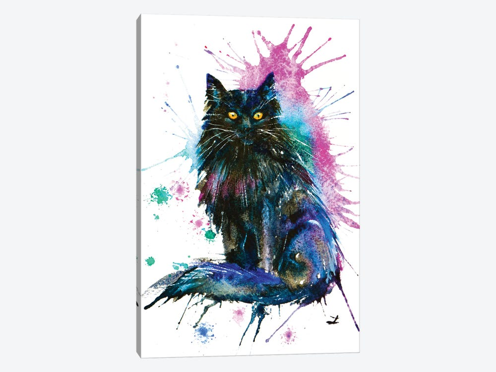 Black Cat by Zaira Dzhaubaeva 1-piece Canvas Art