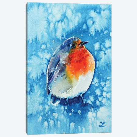 Robin In The Snow Canvas Print #ZDZ179} by Zaira Dzhaubaeva Art Print