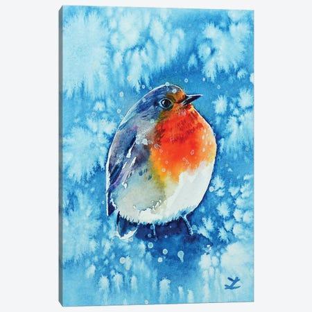 Robin In The Snow Canvas Print #ZDZ179} by Zaira Dzhaubaeva Art Print