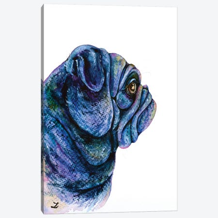 Black Pug Canvas Print #ZDZ17} by Zaira Dzhaubaeva Art Print