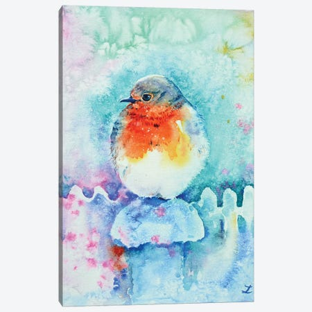 Christmas Robin Canvas Print #ZDZ180} by Zaira Dzhaubaeva Canvas Art