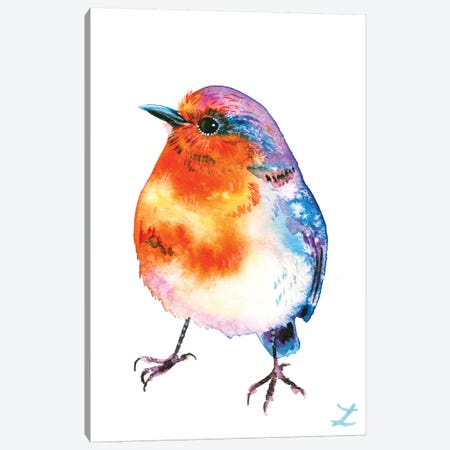 Cheerful Robin Canvas Print #ZDZ182} by Zaira Dzhaubaeva Canvas Wall Art