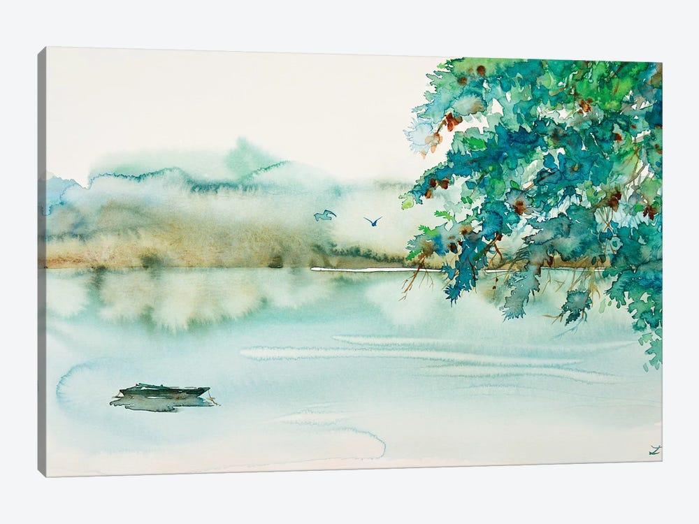 Lonesome Boat by Zaira Dzhaubaeva 1-piece Canvas Artwork