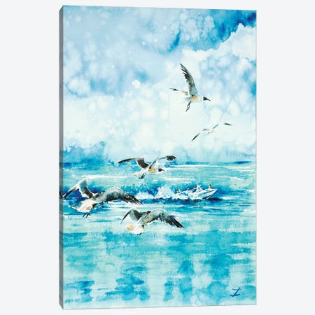Black-Headed Seagulls At Seven Seas Beach Canvas Print #ZDZ18} by Zaira Dzhaubaeva Canvas Wall Art