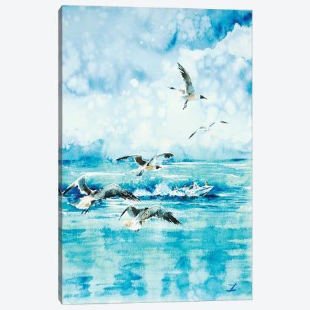 Black-Headed Seagulls At Seven Seas Beach Canvas Print #ZDZ18} by Zaira Dzhaubaeva Canvas Wall Art
