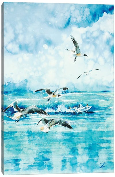 Black-Headed Seagulls At Seven Seas Beach Canvas Art Print