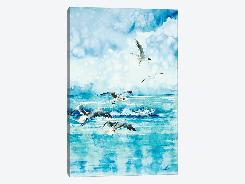 Black-Headed Seagulls At Seven Seas Beach by Zaira Dzhaubaeva 1-piece Canvas Artwork