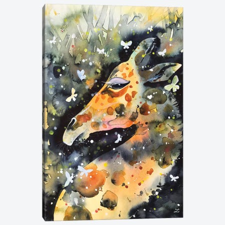 Giraffe And Butterflies Canvas Print #ZDZ192} by Zaira Dzhaubaeva Canvas Art Print