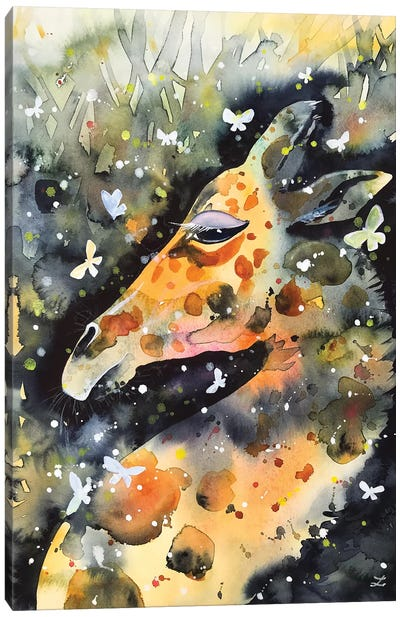 Giraffe And Butterflies Canvas Art Print