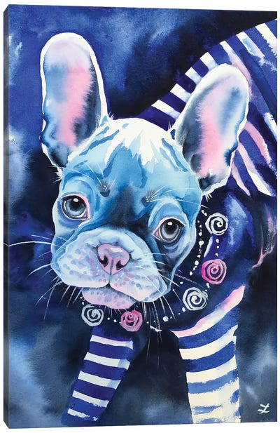 Frenchie In Breton Shirt Canvas Art Print