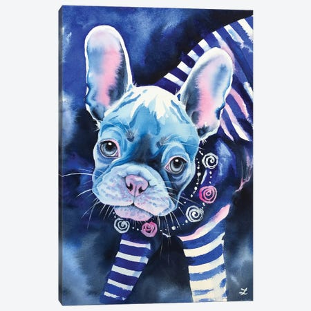 Frenchie In Breton Shirt Canvas Print #ZDZ195} by Zaira Dzhaubaeva Canvas Wall Art
