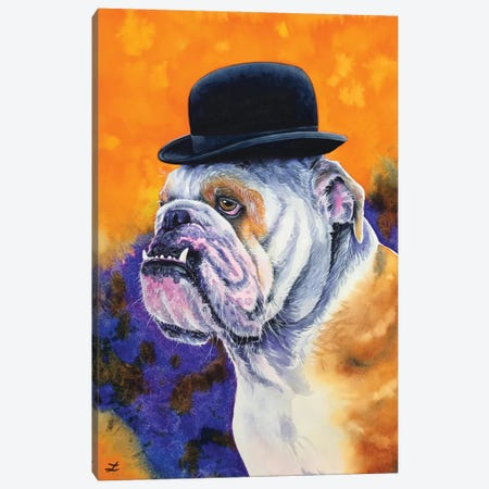 Bulldog In Derby Hat Canvas Print #ZDZ196} by Zaira Dzhaubaeva Canvas Wall Art