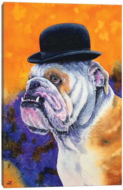Bulldog In Derby Hat Canvas Art Print