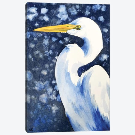 Winter Egret Canvas Print #ZDZ198} by Zaira Dzhaubaeva Canvas Art Print