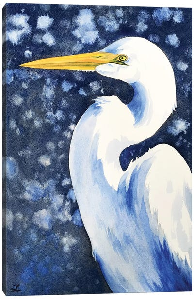 Winter Egret Canvas Art Print