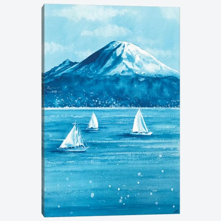 Sailboats and Mount Rainier 3-Piece Canvas #ZDZ201} by Zaira Dzhaubaeva Art Print