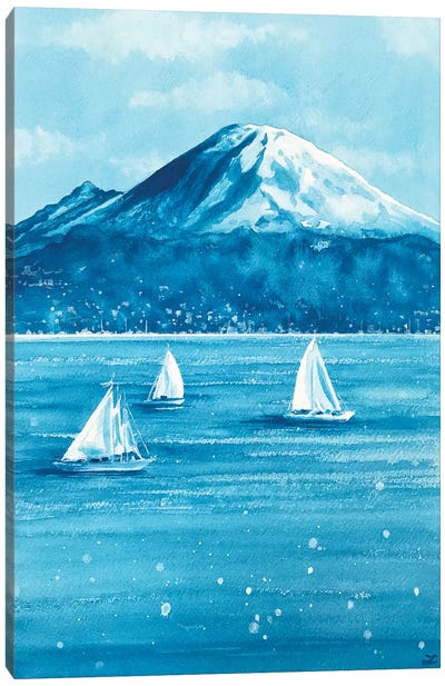 Sailboats and Mount Rainier Canvas Art Print