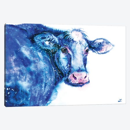 Blue Cow Canvas Print #ZDZ20} by Zaira Dzhaubaeva Art Print