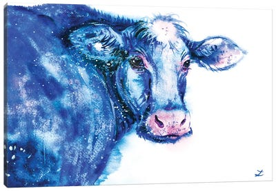 Blue Cow Canvas Art Print