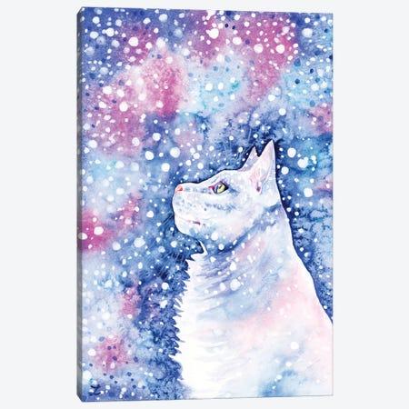Snow Cat Canvas Print #ZDZ239} by Zaira Dzhaubaeva Canvas Art