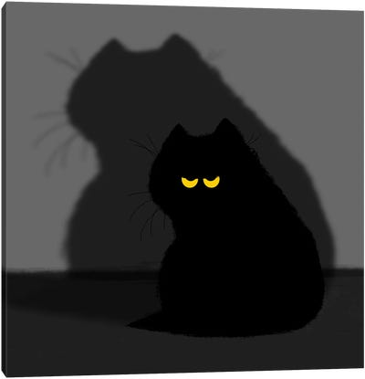 Black Cat And Its Shadow Canvas Art Print