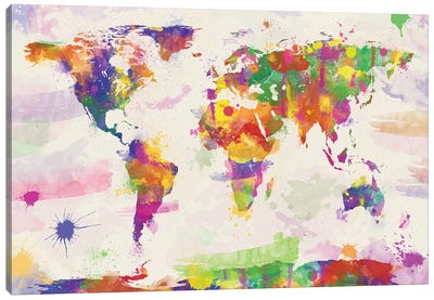 Colorful Watercolour World Map Canvas Art Print