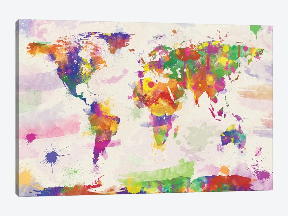 Colorful watercolour world map art print by zaira dzhaubaeva icanvas colorful watercolour world map by zaira dzhaubaeva 1 piece canvas artwork gumiabroncs Gallery