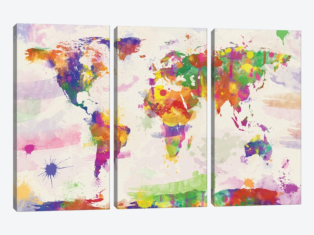 Colorful Watercolour World Map by Zaira Dzhaubaeva 3-piece Canvas Artwork