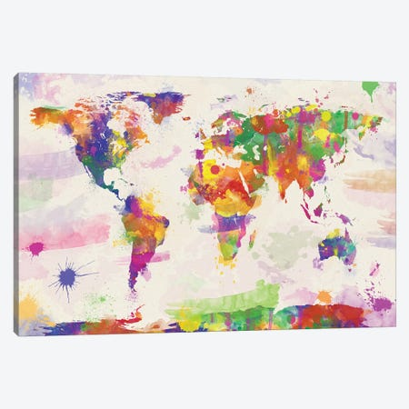 Colorful Watercolour World Map 3-Piece Canvas #ZDZ32} by Zaira Dzhaubaeva Canvas Artwork