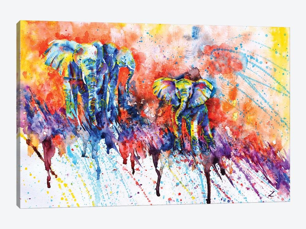 Curious Baby Elephant by Zaira Dzhaubaeva 1-piece Canvas Wall Art