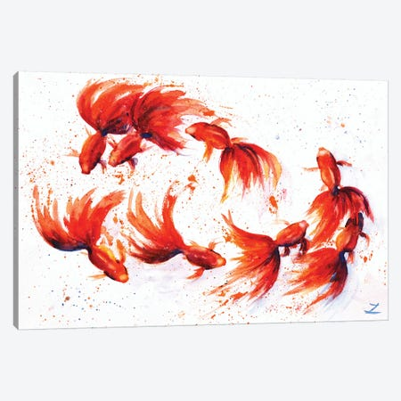 Eight Dancing Goldfish Canvas Print #ZDZ37} by Zaira Dzhaubaeva Canvas Print