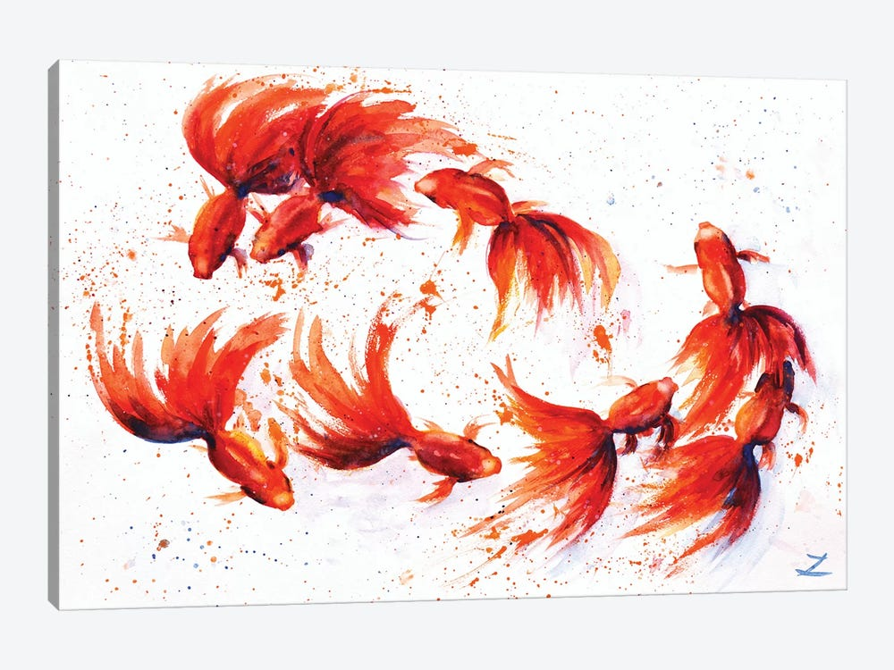 Eight Dancing Goldfish by Zaira Dzhaubaeva 1-piece Art Print