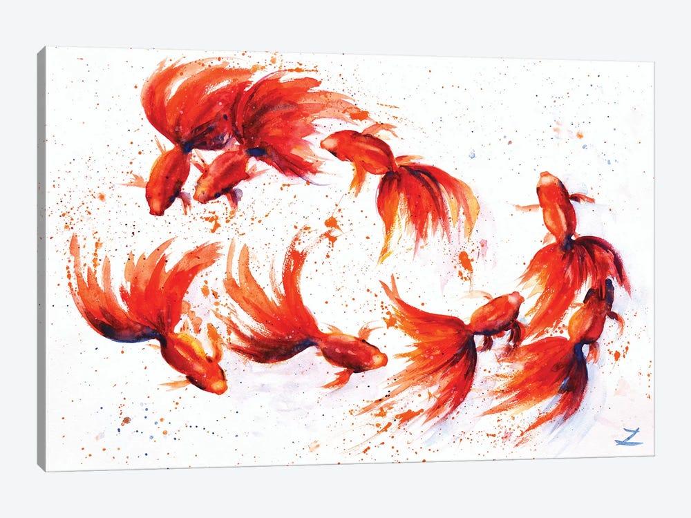 Eight Dancing Goldfish by Zaira Dzhaubaeva 1-piece Art Print