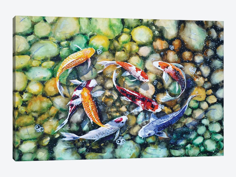 Eight Koi Fish Playing With Bubbles by Zaira Dzhaubaeva 1-piece Canvas Artwork