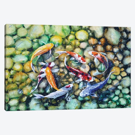 Eight Koi Fish Playing With Bubbles Canvas Print #ZDZ38} by Zaira Dzhaubaeva Canvas Wall Art