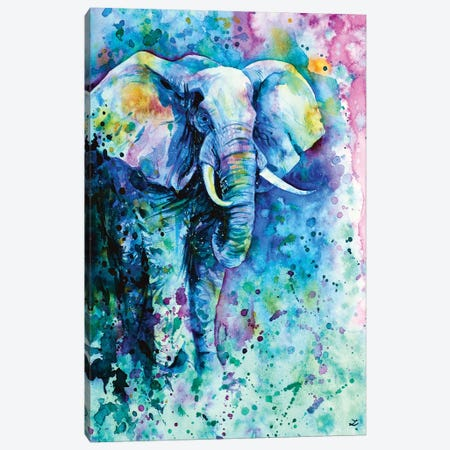 Elephant In A Purple Cloud Canvas Print #ZDZ39} by Zaira Dzhaubaeva Canvas Artwork