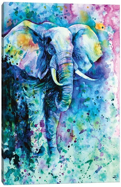 Elephant In A Purple Cloud Canvas Art Print