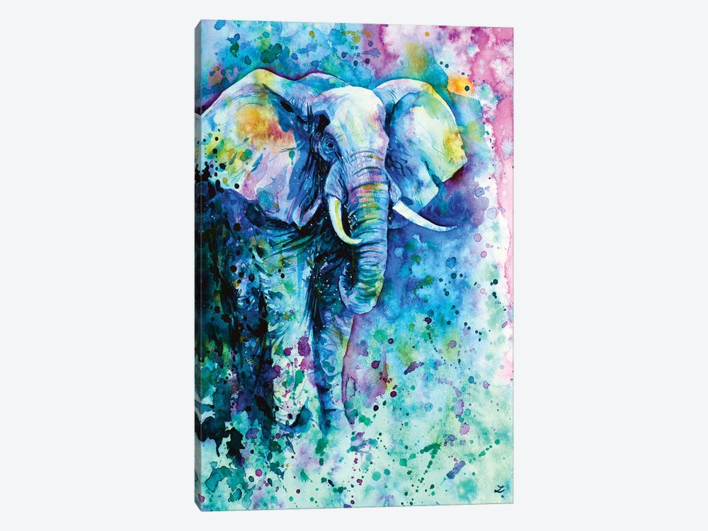 Elephant In A Purple Cloud by Zaira Dzhaubaeva 1-piece Canvas Print