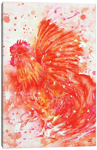Flaming Rooster Canvas Art Print