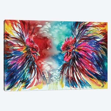 Gamecocks Canvas Print #ZDZ47} by Zaira Dzhaubaeva Canvas Artwork