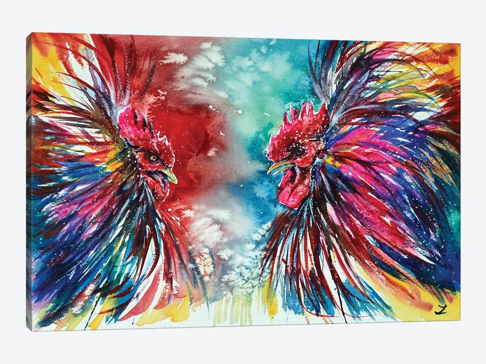 Gamecocks by Zaira Dzhaubaeva 1-piece Canvas Wall Art