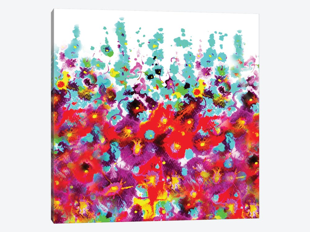 Garden Hollyhocks by Zaira Dzhaubaeva 1-piece Canvas Print